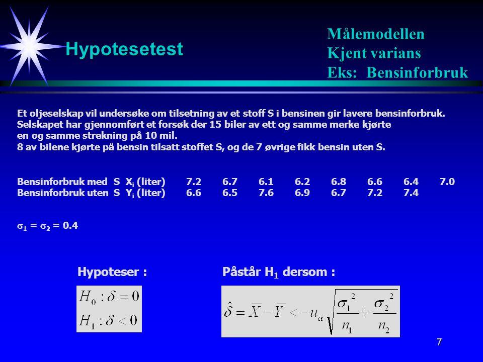 Hypotesetest Målemodellen Kjent varians Eks: Bensinforbruk Hypoteser :