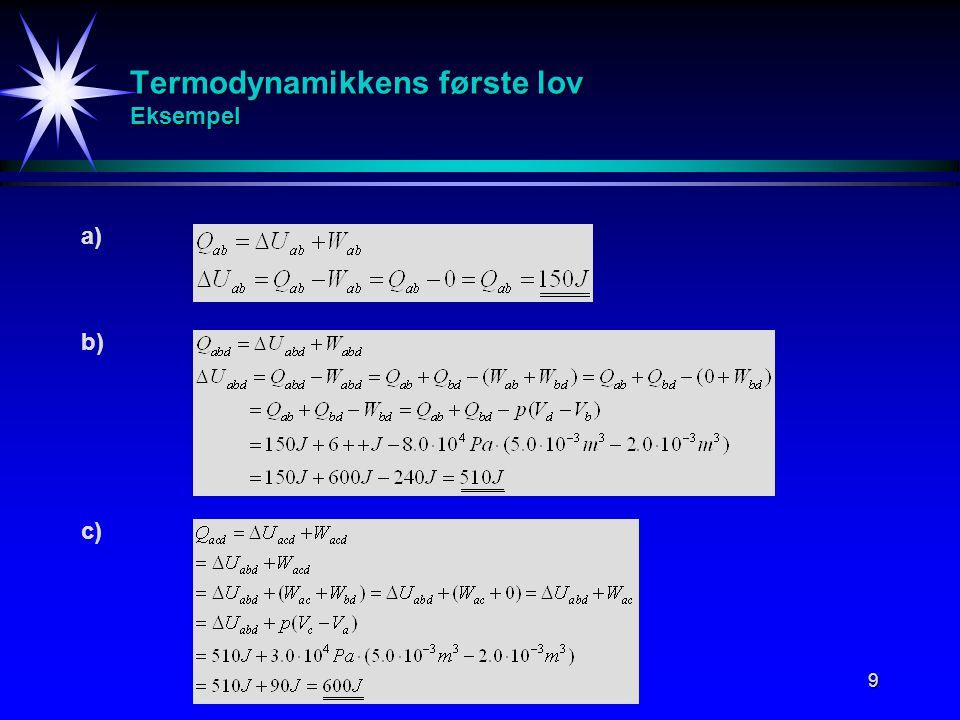 Termodynamikkens første lov Eksempel