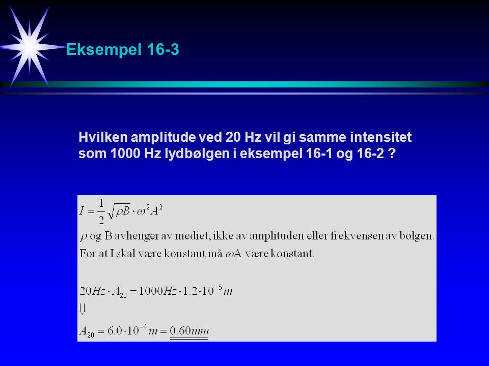 Eksempel 16-3 Hvilken amplitude ved 20 Hz vil gi samme intensitet