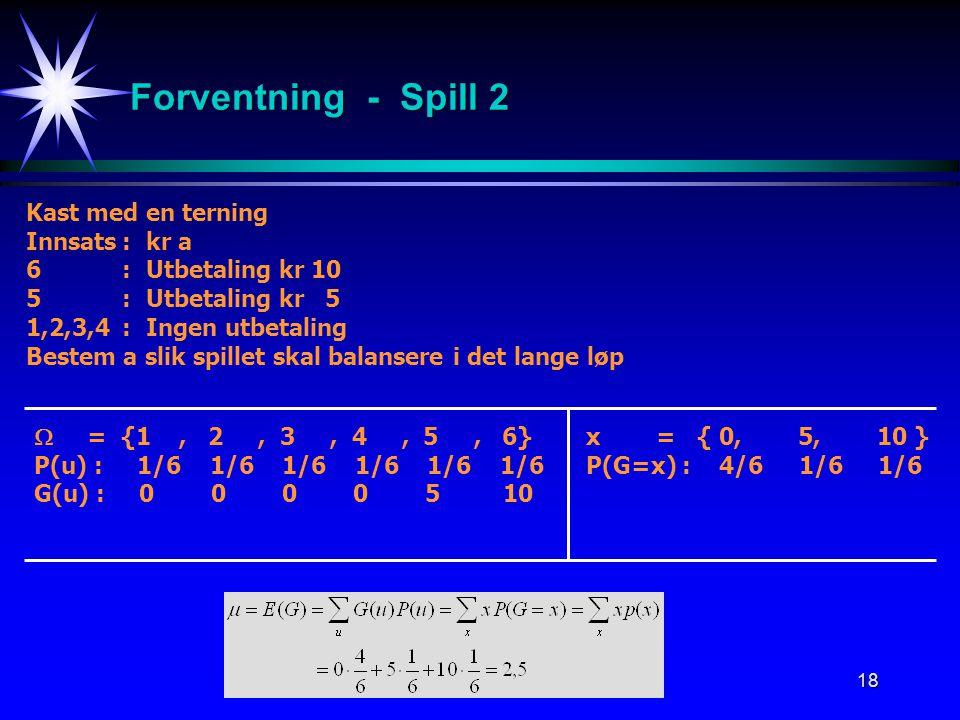 Forventning - Spill 2 Kast med en terning Innsats : kr a