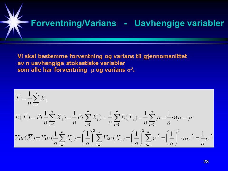 Forventning/Varians - Uavhengige variabler