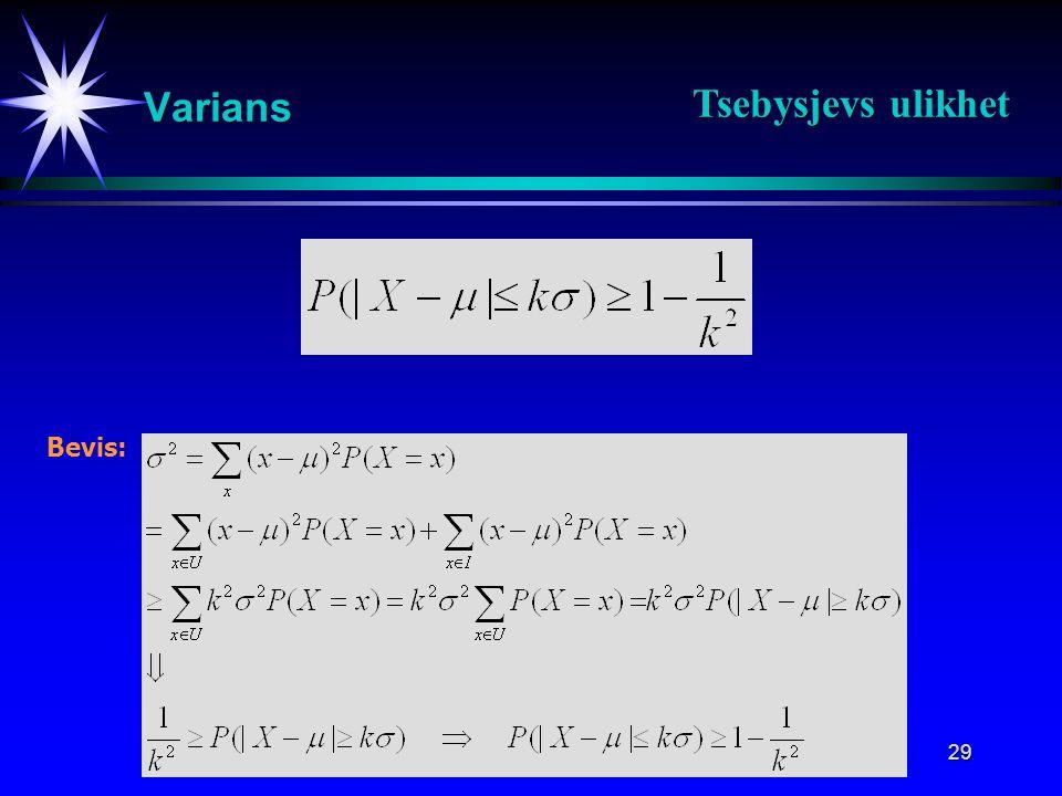 Tsebysjevs ulikhet Varians Bevis: