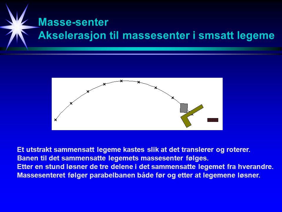Masse-senter Akselerasjon til massesenter i smsatt legeme