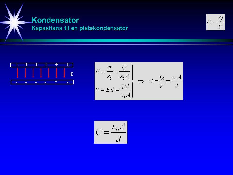 Kondensator Kapasitans til en platekondensator