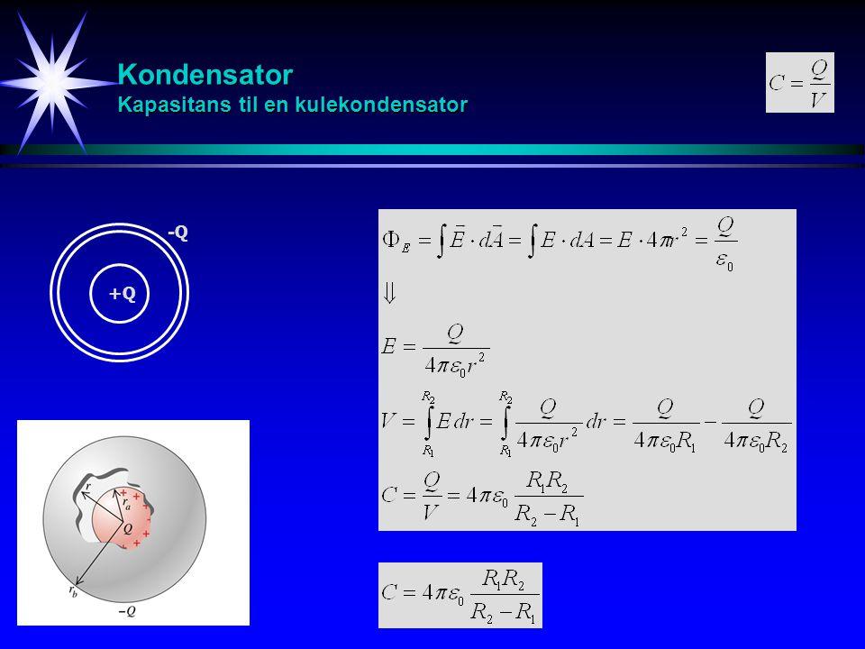 Kondensator Kapasitans til en kulekondensator