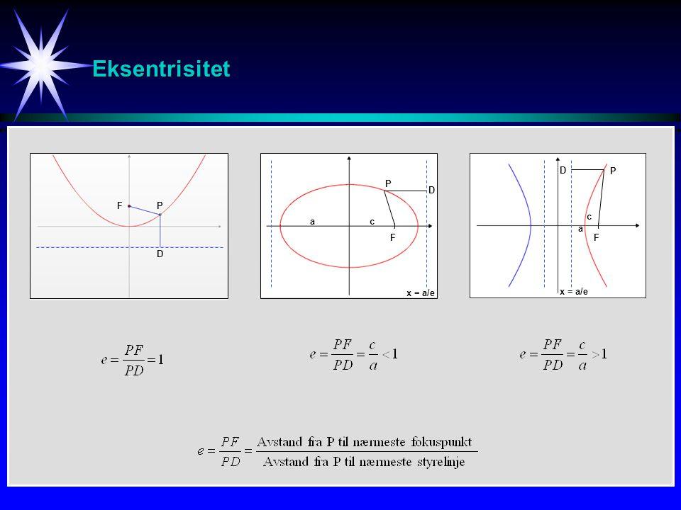 Eksentrisitet D P P D F P c a c a F F D x = a/e x = a/e
