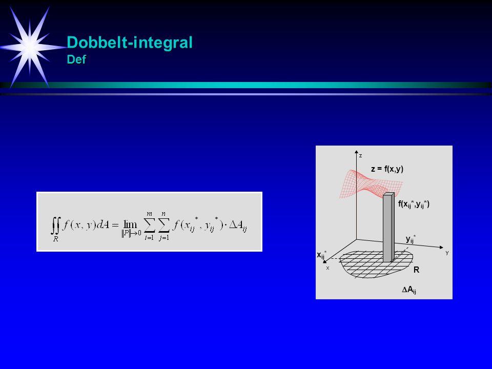 Dobbelt-integral Def z = f(x,y) f(xij*,yij*) yij* xij* R Aij