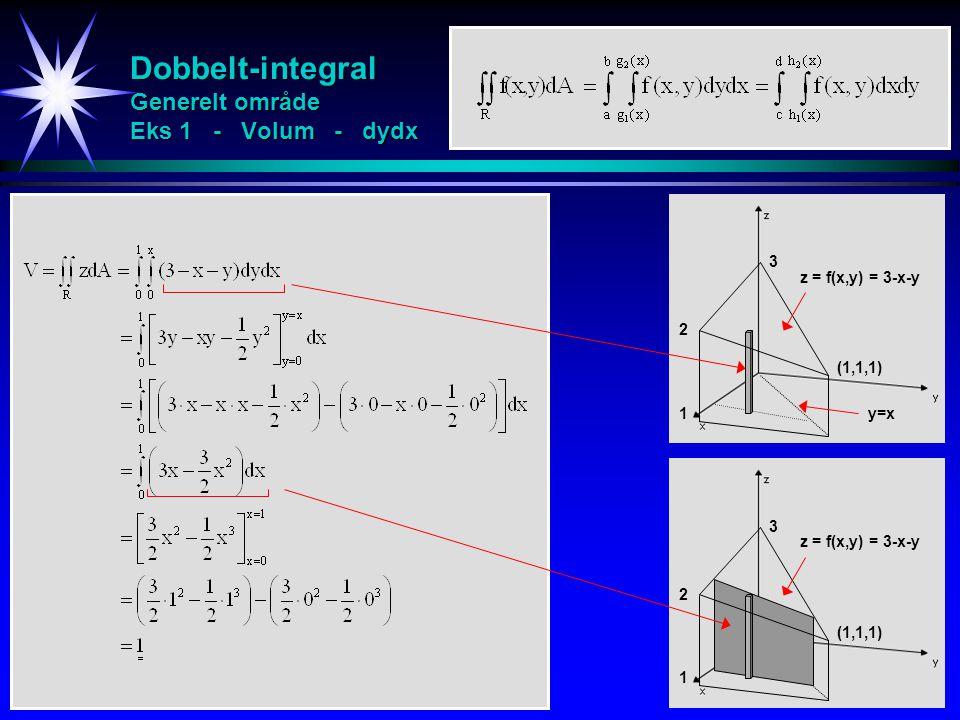 Dobbelt-integral Generelt område Eks 1 - Volum - dydx