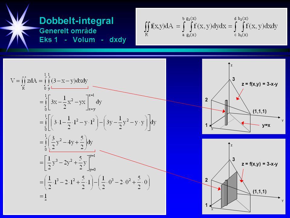 Dobbelt-integral Generelt område Eks 1 - Volum - dxdy