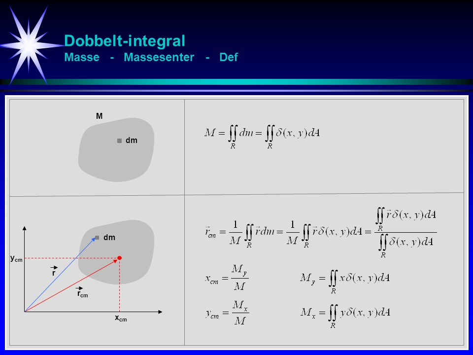 Dobbelt-integral Masse - Massesenter - Def