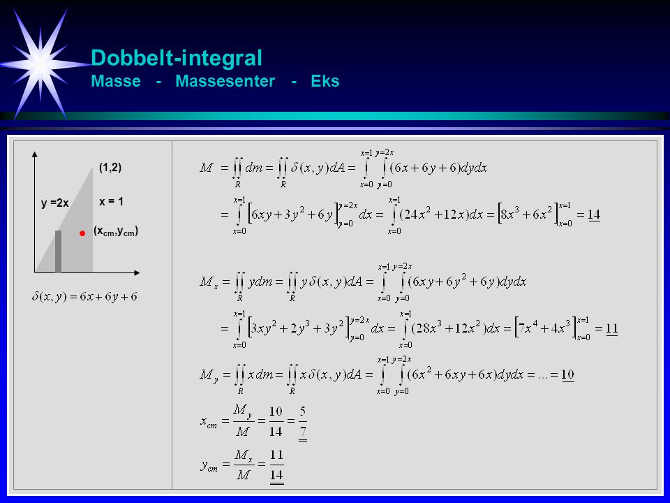 Dobbelt-integral Masse - Massesenter - Eks