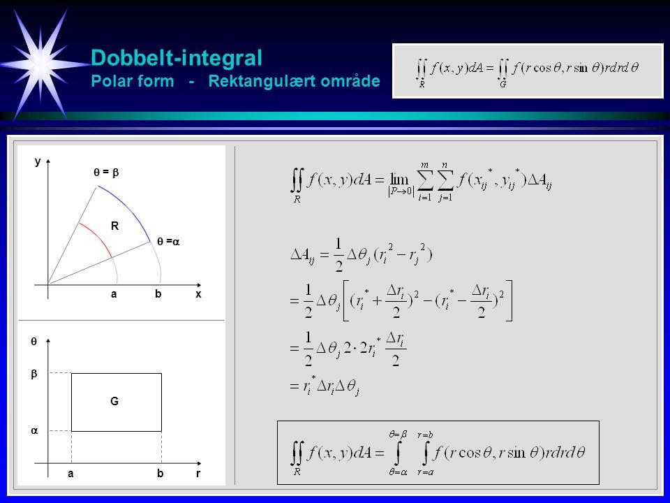 Dobbelt-integral Polar form - Rektangulært område