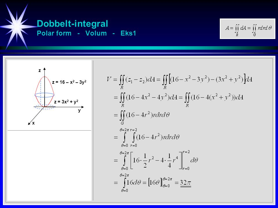 Dobbelt-integral Polar form - Volum - Eks1