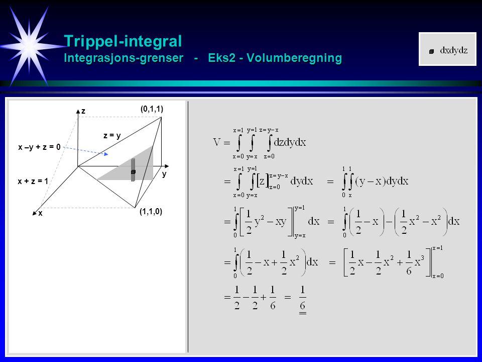 Trippel-integral Integrasjons-grenser - Eks2 - Volumberegning
