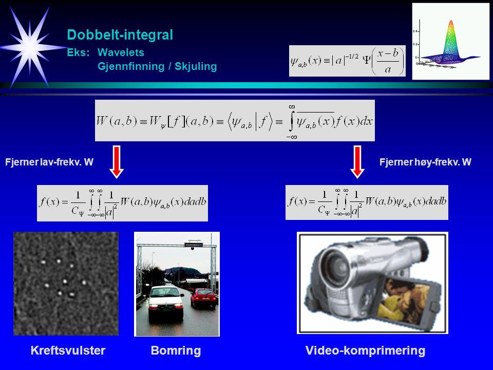 Dobbelt-integral Eks: Wavelets Gjennfinning / Skjuling