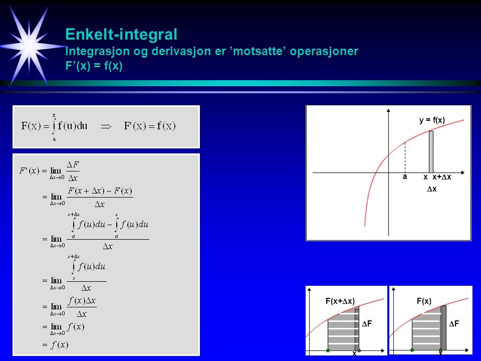 Enkelt-integral Integrasjon og derivasjon er 'motsatte' operasjoner F'(x) = f(x)