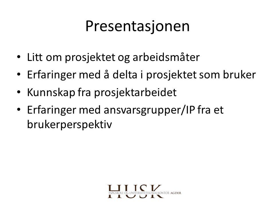 Presentasjonen Litt om prosjektet og arbeidsmåter