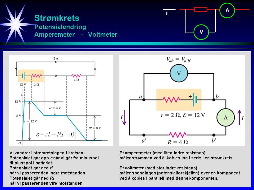 Strømkrets Potensialendring Amperemeter - Voltmeter
