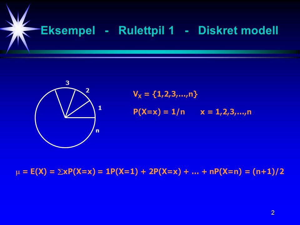 Eksempel - Rulettpil 1 - Diskret modell
