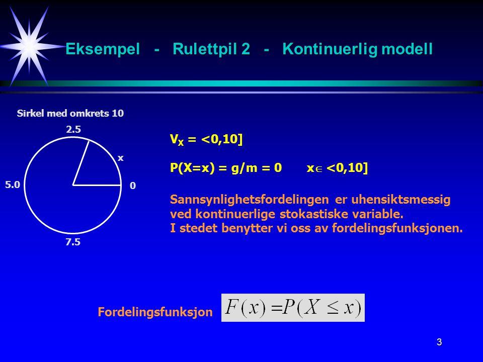 Eksempel - Rulettpil 2 - Kontinuerlig modell