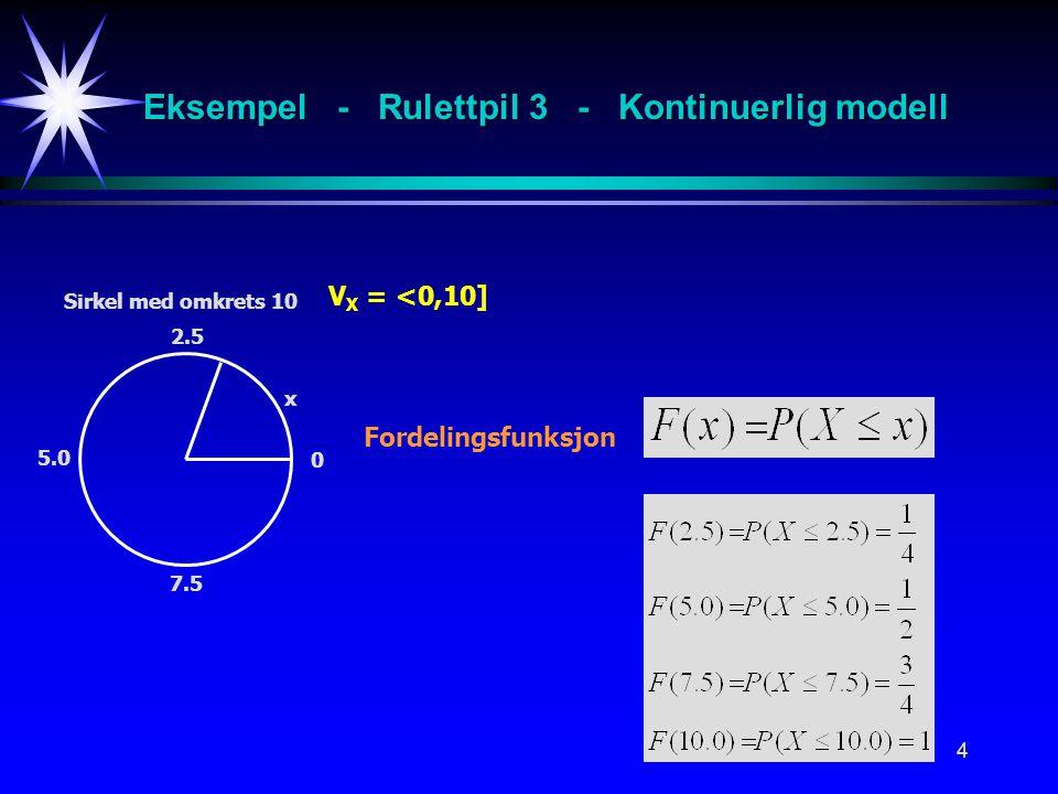 Eksempel - Rulettpil 3 - Kontinuerlig modell