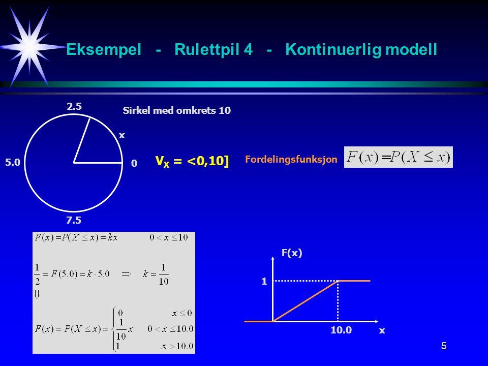 Eksempel - Rulettpil 4 - Kontinuerlig modell