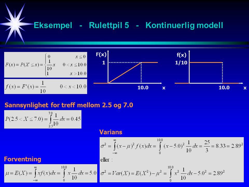 Eksempel - Rulettpil 5 - Kontinuerlig modell