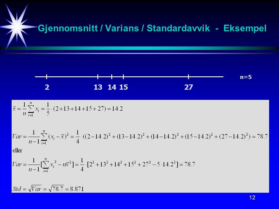 Gjennomsnitt / Varians / Standardavvik - Eksempel