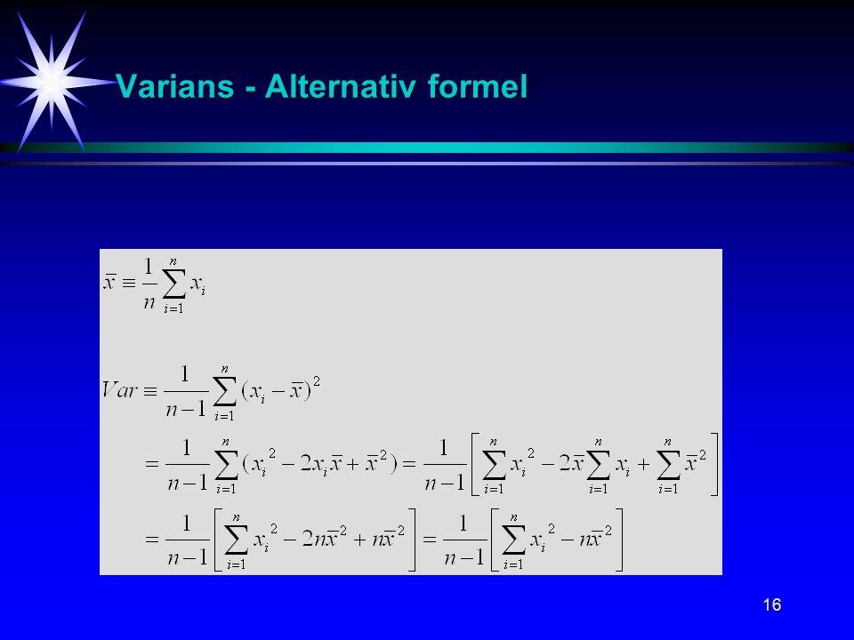 Varians - Alternativ formel