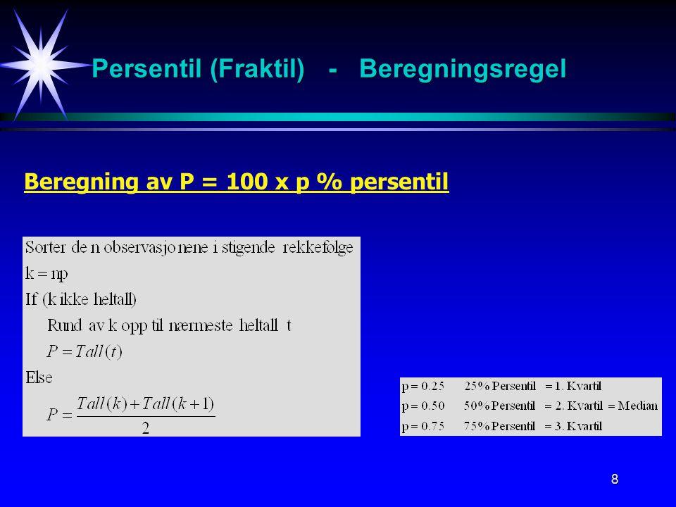 Persentil (Fraktil) - Beregningsregel