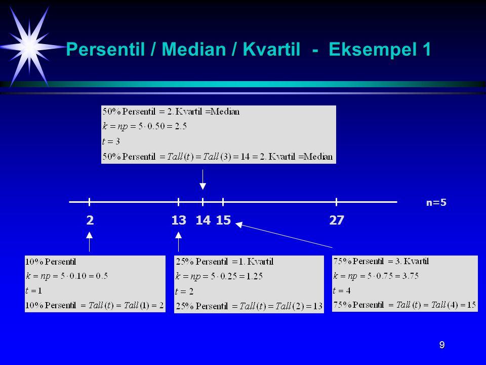Persentil / Median / Kvartil - Eksempel 1
