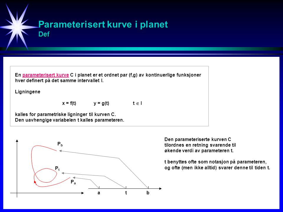 Parameterisert kurve i planet Def