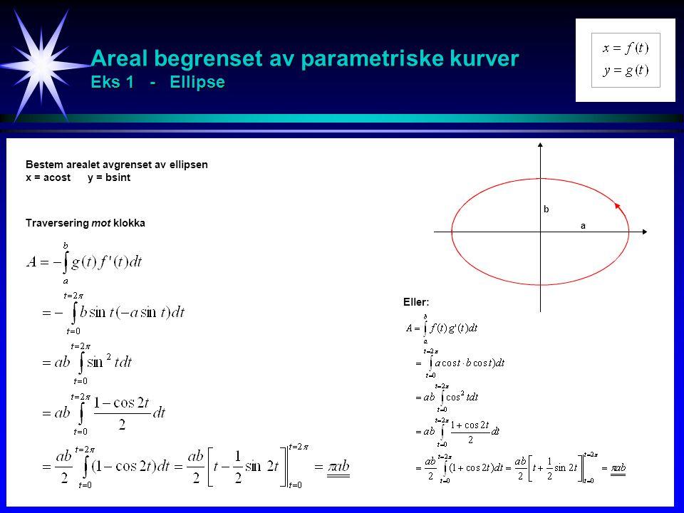 Areal begrenset av parametriske kurver Eks 1 - Ellipse