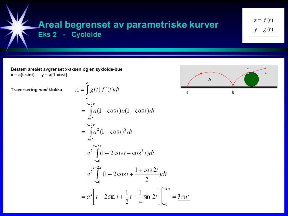 Areal begrenset av parametriske kurver Eks 2 - Cycloide