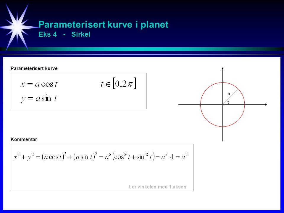 Parameterisert kurve i planet Eks 4 - Sirkel