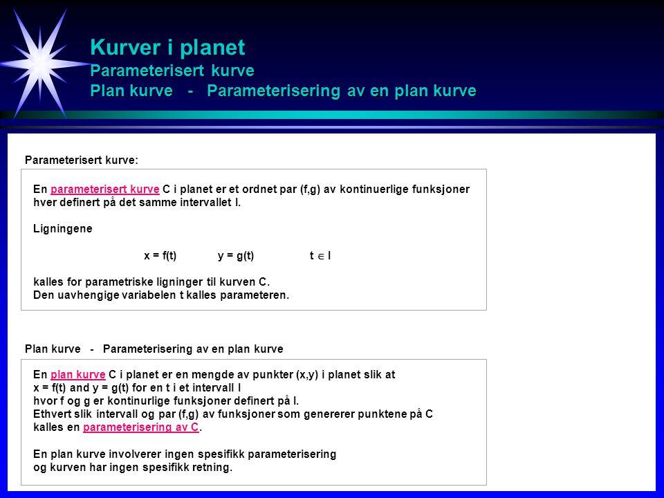 Kurver i planet Parameterisert kurve Plan kurve - Parameterisering av en plan kurve