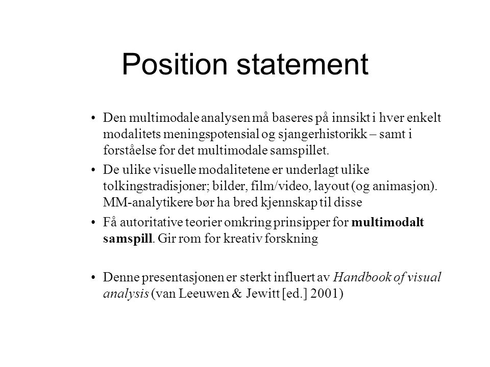 Position statement