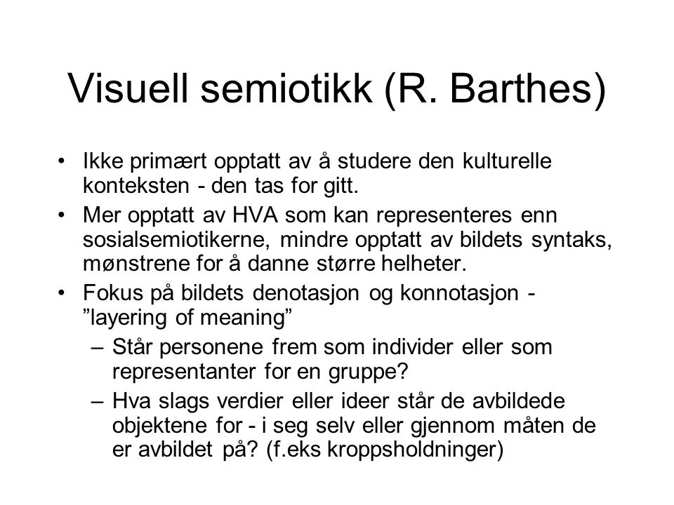 Visuell semiotikk (R. Barthes)