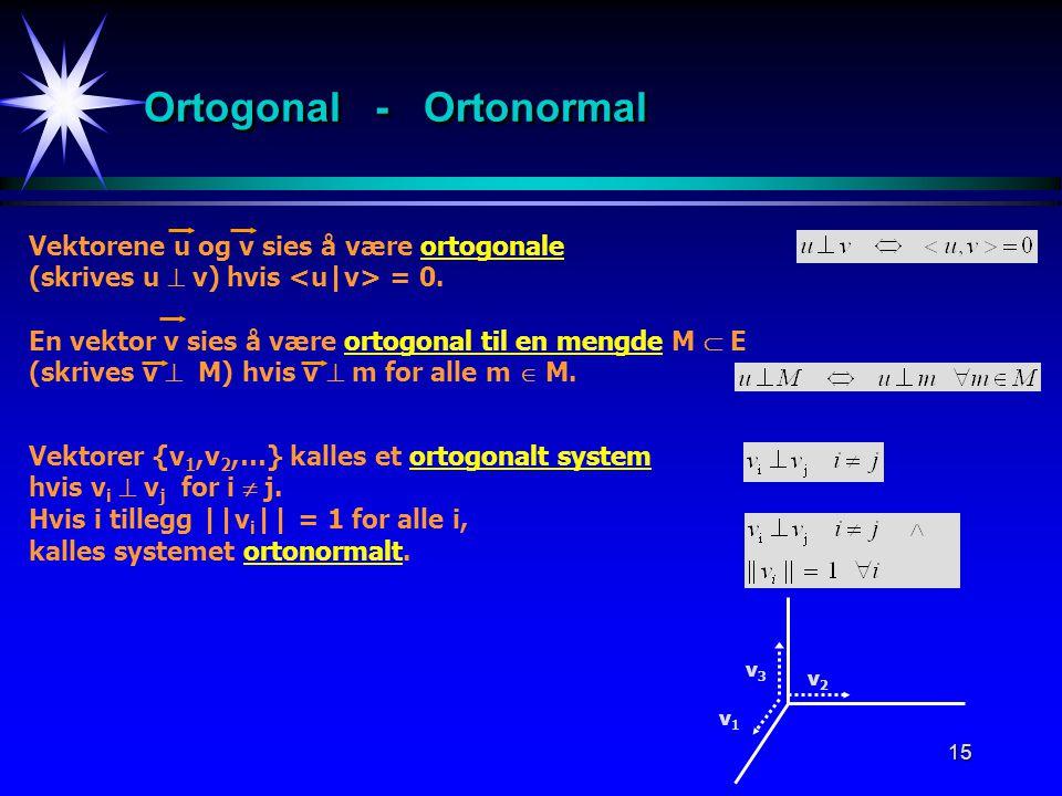 Ortogonal - Ortonormal