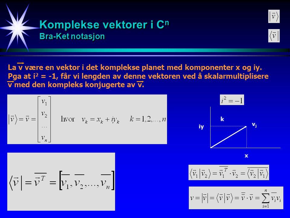 Komplekse vektorer i Cn Bra-Ket notasjon