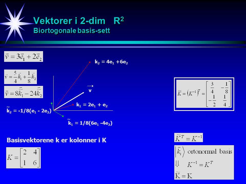 Vektorer i 2-dim R2 Biortogonale basis-sett