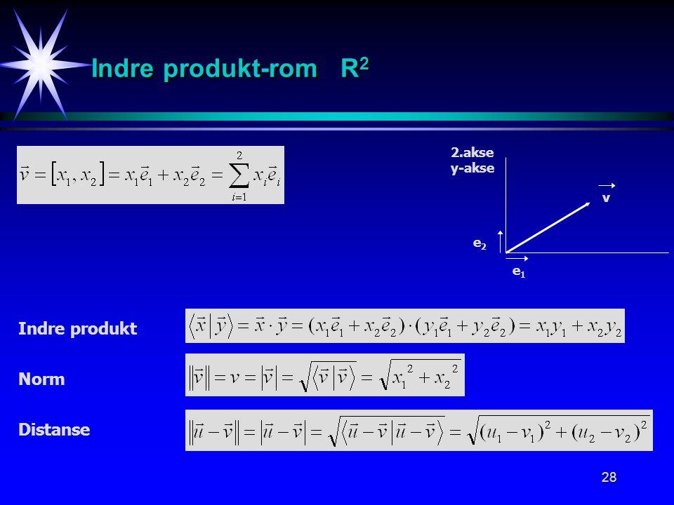 Indre produkt-rom R2 2.akse y-akse v e2 e1 Indre produkt Norm Distanse
