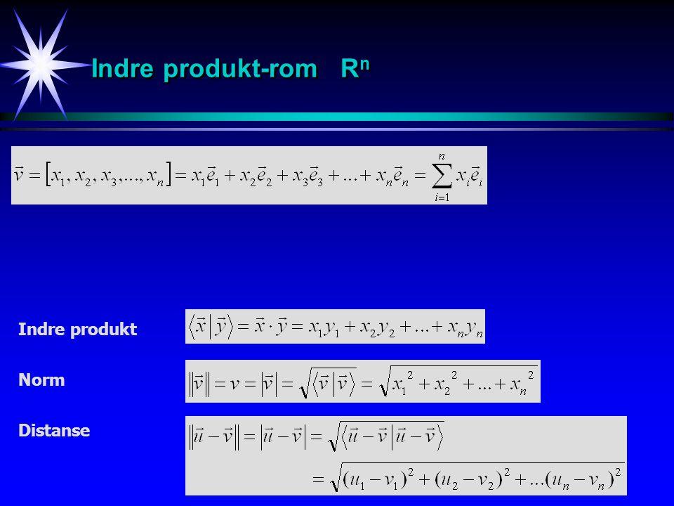 Indre produkt-rom Rn Indre produkt Norm Distanse