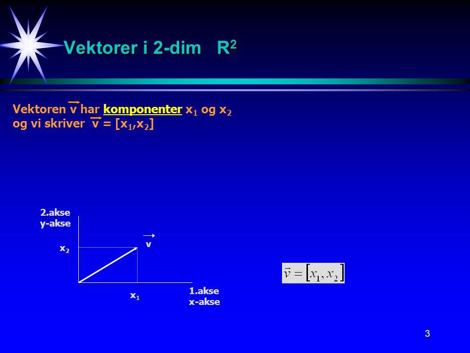 Vektorer i 2-dim R2 Vektoren v har komponenter x1 og x2