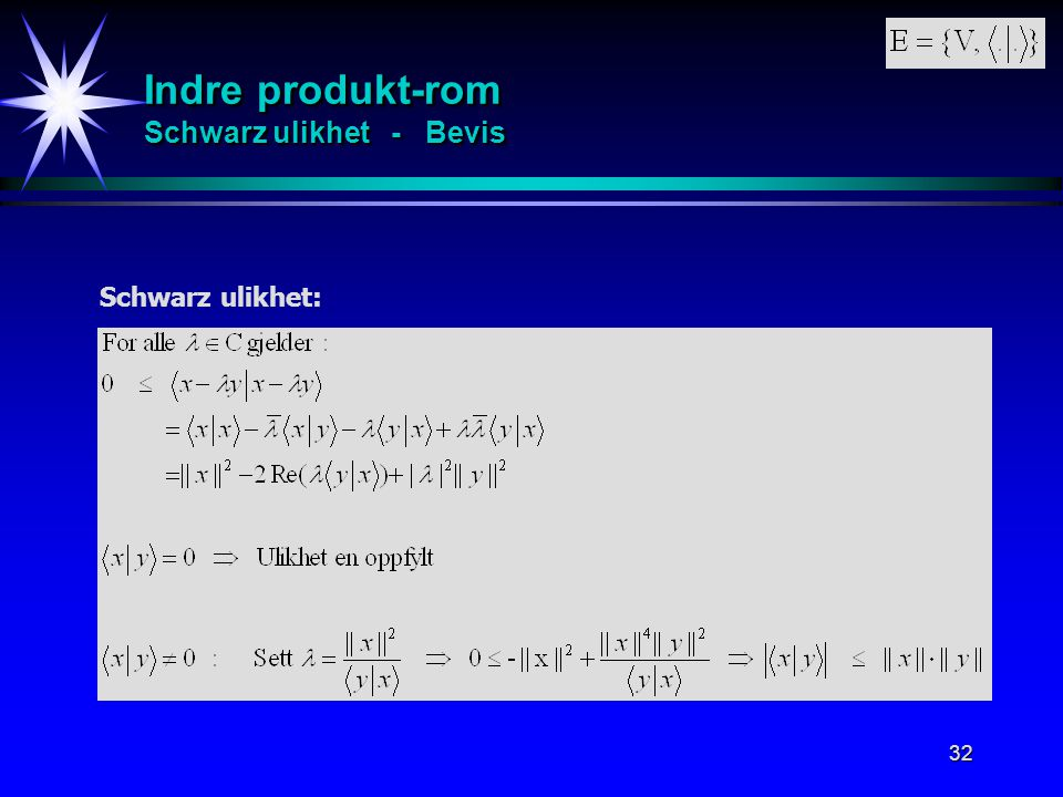 Indre produkt-rom Schwarz ulikhet - Bevis