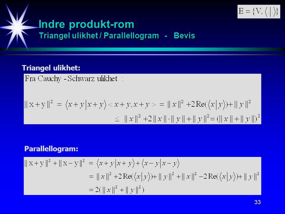Indre produkt-rom Triangel ulikhet / Parallellogram - Bevis