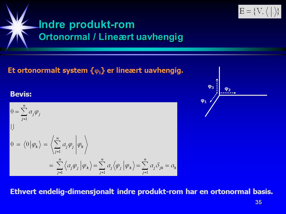 Indre produkt-rom Ortonormal / Lineært uavhengig