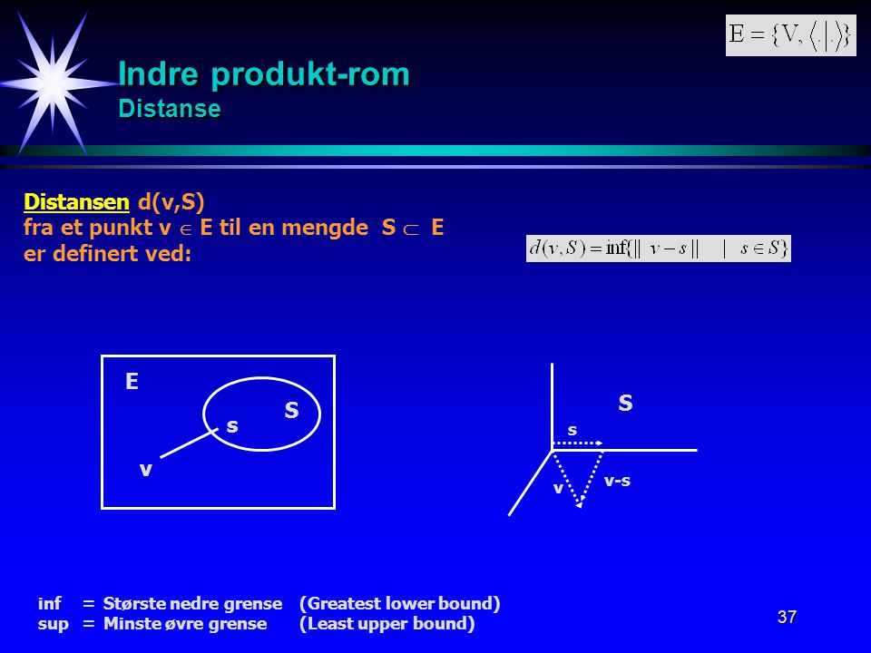 Indre produkt-rom Distanse