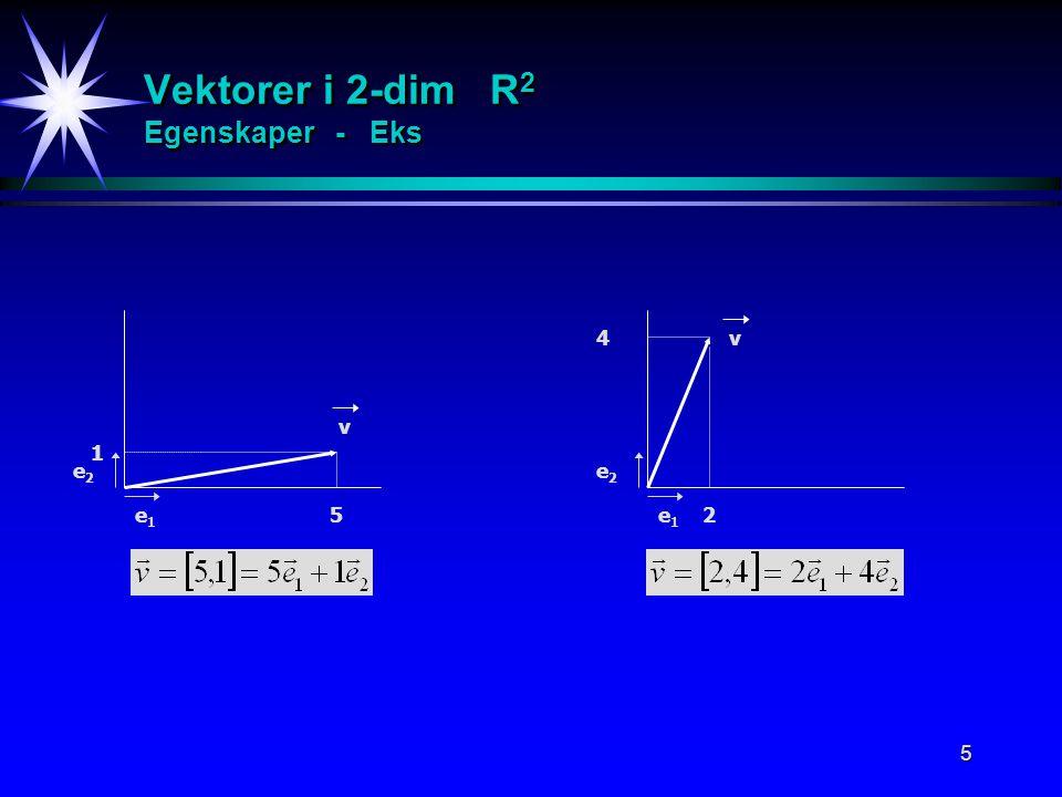Vektorer i 2-dim R2 Egenskaper - Eks