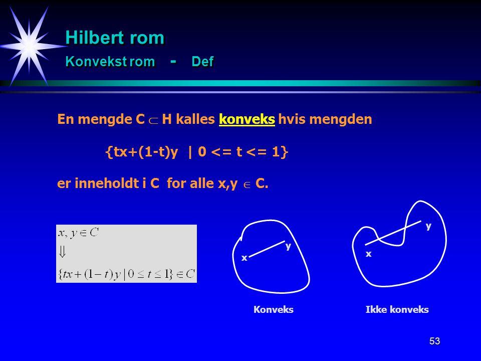 Hilbert rom Konvekst rom - Def